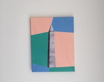 Original Washington Monument Color Painting 11x14 Acrylic Art DC