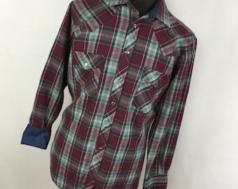 Vintage Sears Rosebucks L Large 16 16.5 Red Blue Plaid Western Pearl Snap Flannel Work Shirt V7