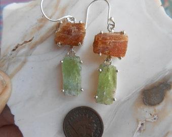 Orange and Green Kyanite Earrings