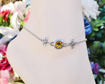 Women's Anklet, Celtic Anklet, Outlander Jewelry, Scottish Jewelry, Outlander Gifts, Celtic knot, Swarovski Crystal, Gift Boxed