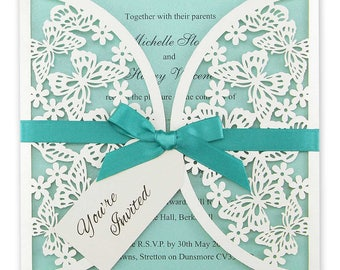 SAMPLE * Butterfly Laser Cut Wedding Invitation with Tag