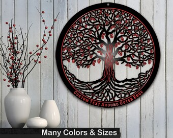 Tree of Life 28in Baltic Birch Black Metallic Base Wall Art w/ Optional Custom Text