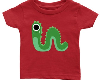 Cute little Green Monster - Infant t-shirt - For the sweet baby in your life! Birthday, baby shower, new baby