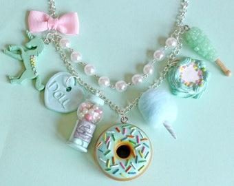 Pastel Mint Charm Necklace, Kitsch Retro Necklace, Pin up Rockabilly Jewelry, Kawaii Necklace, Food Charm Jewelry, Miniature Food