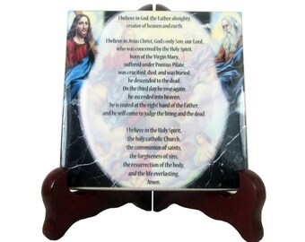 Apostles Creed - Christian gifts - collectible ceramic tile - Christian Creed - Christian decor handmade in Italy - Christian prayer