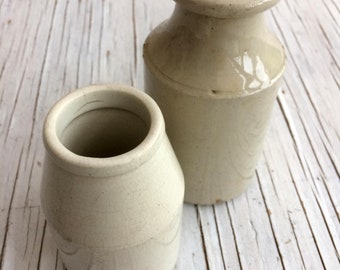 Two vintage pots, one Earthenware pot and one cream pot, could be used as small vases or pen/ brush holder or water pot.