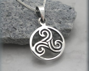 Triskele Necklace Triskilion Necklace Triple Spiral Celtic Knot Irish Jewelry Sterling Silver