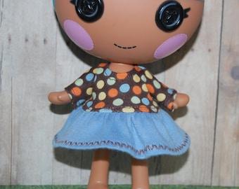 "Lalaloopsy Littles 7"" doll clothes - Brown Dots Long Sleeve Fall Dress - tkct108"