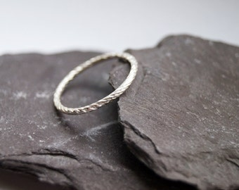Weaved Stacking Band Sterling Silver Ring ~ stacking ring, silver, modern, stackable, diamond cut, statement ring, simple band, minimal,
