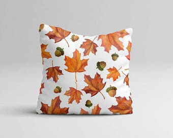 Fall Throw Pillow Cover, Thanksgiving Home Pillow Case, Autumn Pillow Case, Autumn Home Decor Cottage Decor, Fall Leaves Watercolor Pillow