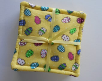 Easter Coasters, Fabric Coasters, Easter Fabric, Yellow Eggs