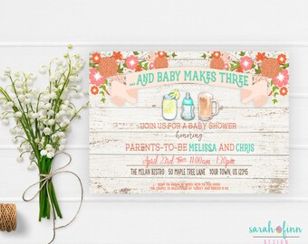 Rustic Baby Shower Invitation, Baby Makes Three, Couples Coed Baby Shower, Wood, Co-ed Shower, Printable, Gender Neutral, Shabby Chic
