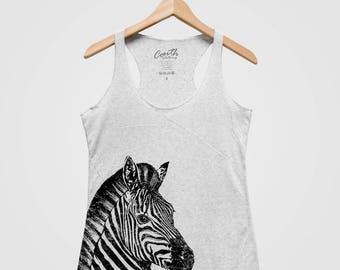 Zebra Tank Top, Women's Tank Top, Triblend Racerback Tank Top. Hand Screen Print, Zebra Print, Animal Design Shirt, Fashion Tank Top