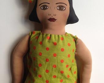 black doll. textile doll, cloth doll, art doll, rag doll, muneca, gift, present, brown, decoration, hand made, vintage dress, bow