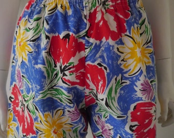 Floral printed high waisted shorts with elastic waist -Reworked