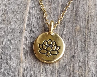 Tiny lotus necklace / Yoga charm necklace / Antique gold lotus pendant / Gold Yoga necklace / Gold filled chain