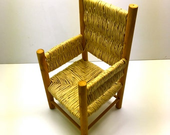 """Vintage Toy Chair,  Doll Or Bear Chair With Rope Weaving - 9"""" H"""