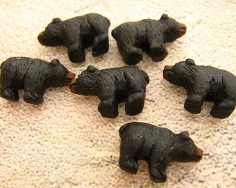 4 Tiny Black Bear Beads - ceramic, animal, peruvian, wild, zoo - CB33