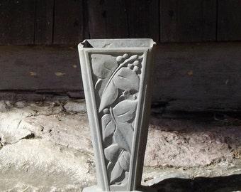 Vintage French Metal Vase, French Planter, Leaf Berry Design, Patina, Large Vase