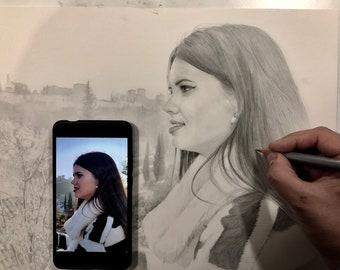Hyperrealist pencil portraits held a hand