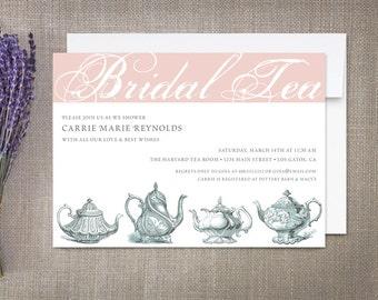 Bridal Tea Invitations, Vintage Teapots
