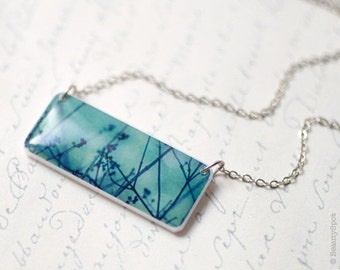 Teal necklace, Mothers day gift, Tree Branch necklace, Small necklace for women, Branch jewelry, Photo nature jewelry, Photo art necklace