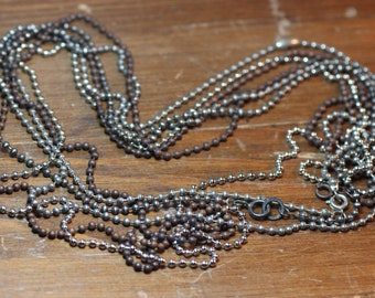 Antiqued Silver Ball Chain Copper Plated Faceted Ball Chain Necklace Findings