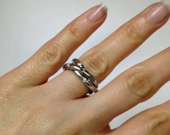 925 Sterling Silver Ring, Silver Ring Bands, Multi Ring Band, Silver Ring, Silver and Stone Band