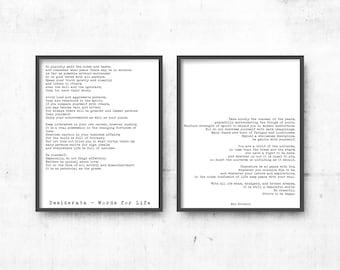 Desiderata poem prints set of 2, Max Ehrmann art, poem art, life quote print, poetry quote art, black & white art decor