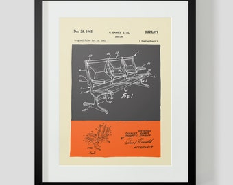 Mid Century Modern Eames Chair Drawings  Seating Assembly
