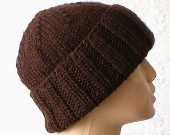 Dark brown watch cap, slouchy hat, brimmed beanie, brown hat, toque, beanie hat, mens womens knit hat, winter hat, ski snowboard, biker