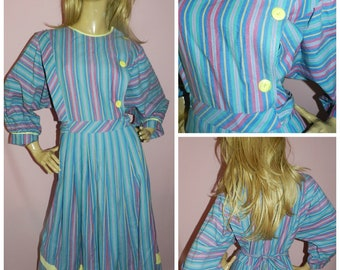 80s STRIPED NU WAVE Batwing Cotton Day dress 16-18 L 1980s Vintage Dirndl