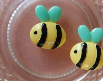 Bee yellow and black cabochon scrapbooking