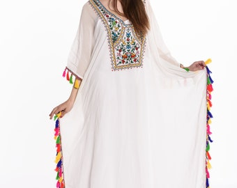 kaftan, kaftan dress, caftan, white maxi dress, Embroidered kaftans, boho wedding dress,  bohemian, white kaftan, embroidered dress