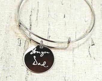 Engraved Handwriting Memorial Charm Bracelet  - Handwriting Bracelet - Custom adjustable wire charm  Bracelet with custom signature keepsake