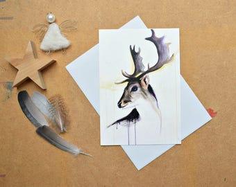 Deer Postcard, Deer Print, Deer Art, Size A5