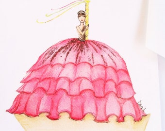 Girl dreaming pink fashion boat watercolor illustration flat note card