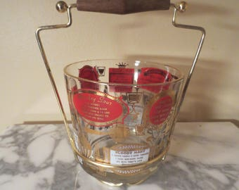 Vintage Ice Bucket, Jeannette Glass Ice Bucket with Drink Recipes 1950s Retro Barware