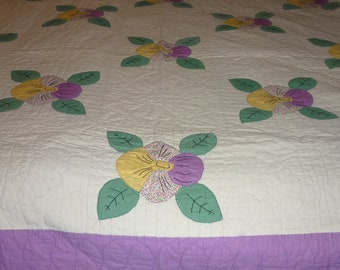 """Vintage PANSIES Quilt  Hand Made...Applique..Hand Embroidery...78"""" Square Like New Condition"""
