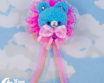 Himmel blau Bär   Brosche und Haarspange   Süße Lolita Mode   Fee-Kei-Mode