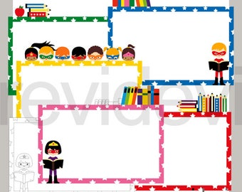 Superhero clipart - Superhero borders horizontal page layout - commercial use clipart - back to school clip art