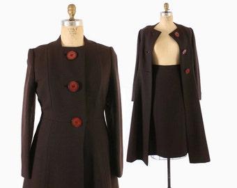 Vintage 60s COAT & SKIRT Set / 1960s Harve Benard Designer Chocolate Wool Princess Coat and Pencil Skirt M - L