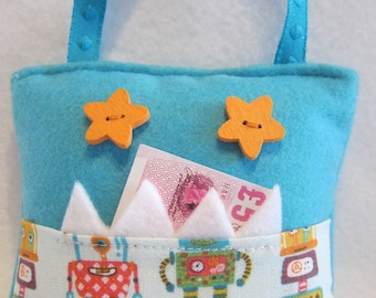 Turquoise monster tooth fairy pillow pocket, robot