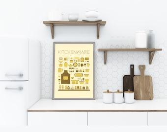 Kitchen Print Decor, Kitchenware Wall Art, Yellow Illustration, Retro Utensils, Vintage Tools, Cookware, Large Printable, Digital Download