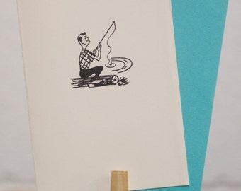Vintage Fishin' Letterpress Card by MLK&toast