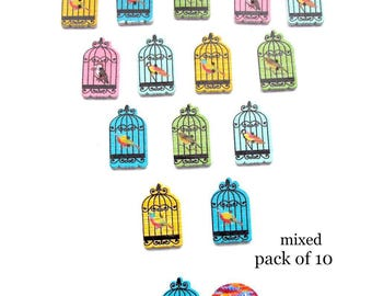 Birdcage Shaped Craft Buttons Wood 10 Two Hole Pack Brooch Making Sewing Knitting Card Embellishment Scrapbooking Gift Tags Decoration