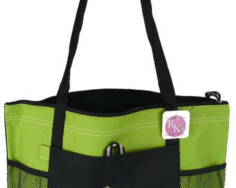Stethoscope & Heart Gemline Select Zippered Tote Lime Green Bag Monogram Embroidered First Responder Nurse Cardiologist LPN Pediatrician