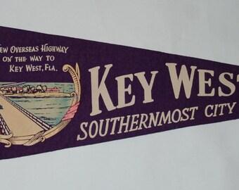 1940s-'50s Era Key West Florida Souvenir Felt Pennant — Free US Shipping!