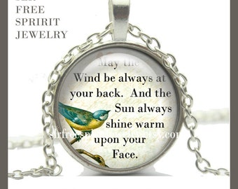Jewelry, Irish, Quote Necklace, Irish Proverb, Irish Quote, Necklace, Encouragement, Gift for Graduate, Gifts for Women Silver, Bronze