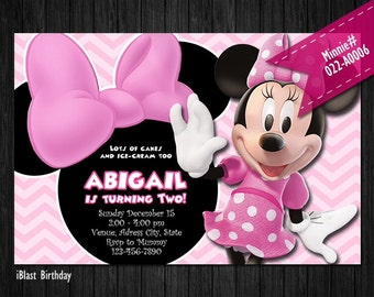ALL CHEVRON pastel Minnie Invite for Minnie Mouse Birthday or Baby Shower - DIY Printable